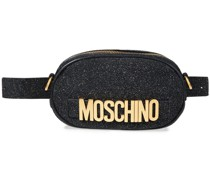 Gürteltasche aus Leder mit Logoverzierung und Glitter-finish