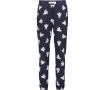 Leopard And Ghost Printed Cotton-blend Track Pants Indigo