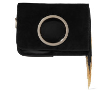 Chain-embellished Suede Clutch Schwarz
