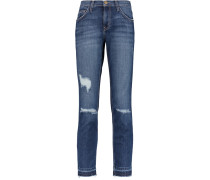 The Cropped Straight Mid-rise Distressed Jeans Mittelblauer Denim