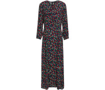 Pintucked Bow-detailed Floral-print Crepe Maxi Dress