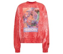 Bedrucktes Sweatshirt aus Baumwollfrottee mit Stickereien