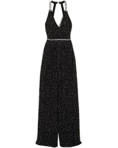 Cutout Wrap-effect Crystal-embellished Silk-chiffon Jumpsuit Black