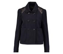 Leather-trimmed Wool-blend Jacket Mitternachtsblau