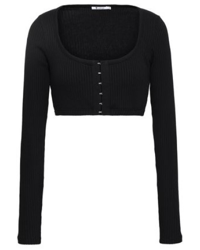 Cropped Ribbed Cotton And Modal-blend Jersey Top Black