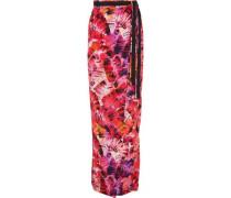 Parlatuvier Palm printed silk-charmeuse wrap skirt