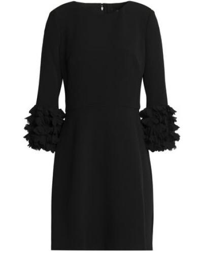 Appliquéd Crepe Mini Dress Black