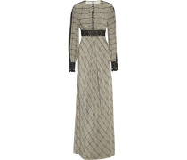 Helm Embroidered Checked Silk-crepe Maxi Dress Schwarz