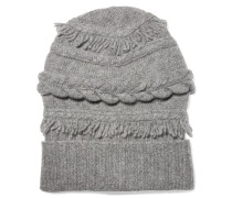 Fringed Cable-knit Wool And Cashmere-blend Beanie Hellgrau