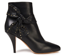 Studded Bow-embellished Leather Ankle Boots