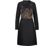 Bow-embellished Lace-paneled Satin-twill Dress Schwarz