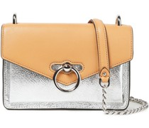 Jean Smooth And Metallic Cracked-leather Shoulder Bag