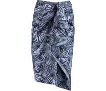 Printed Cotton-poplin Skirt Blau