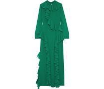 Robe aus Georgette mit Rüschen