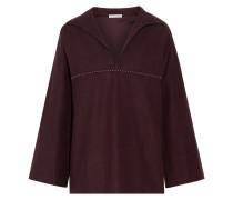 Studded Brushed-cotton Top Merlot