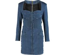 Lace-up Denim Mini Dress Blau