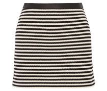Leather-trimmed Striped Woven Mini Skirt Schwarz