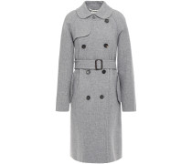 Woman Montmatre Double-breasted Belted Wool-blend Coat Stone