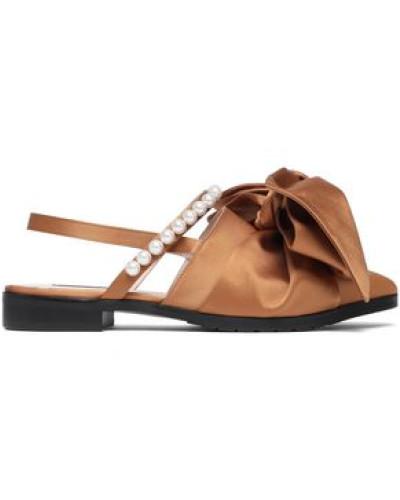 Embellished Satin Slingback Point-toe Flats Camel