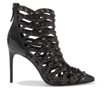 Reiy Studded Woven Leather Ankle Boots