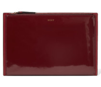 Paneled Glossed And Smooth Leather Clutch Burgunder