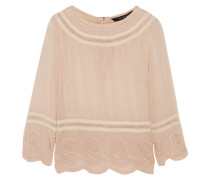 Chloe Embroidered Crepe Blouse Beige