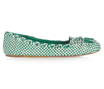 Russell Two-tone Woven Leather Loafers Jade