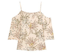 Cold-shoulder printed crepe top