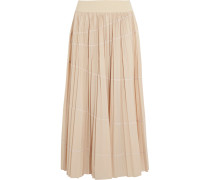 Pleated Shell Maxi Skirt Beige