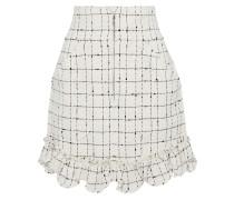 Woman Ruffle-trimmed Cotton-blend Bouclé-tweed Mini Skirt Cream