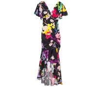 Asymmetric Ruched Printed Stretch-silk Satin Dress