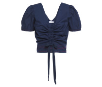 Woman Ruched Stretch-cotton Poplin Top Navy