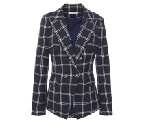 Double-breasted Checked Twill Blazer