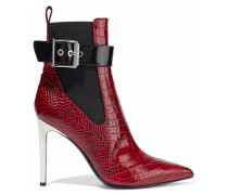 Woman Wren Buckled Croc-effect Leather Ankle Boots Brick
