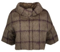 Cropped checked alpaca and wool-blend down jacket