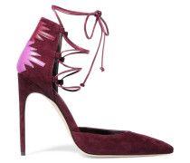 Maka Lace-up Leather-paneled Suede Pumps Burgunder