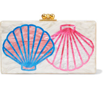 Woman Jean Scallop Marbled Acrylic Box Clutch Cream