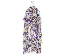 Ruffled Printed Metallic Georgette Halterneck Dress