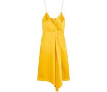 Draped silk-blend satin dress