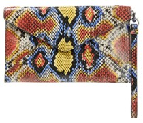 Leo Snake-effect And Cracked-leather Clutch