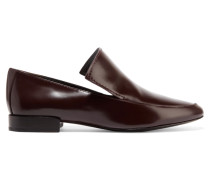 Louie Polished-leather Loafers Burgunder