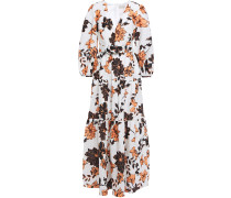 Belted Gathered Floral-print Linen Maxi Dress