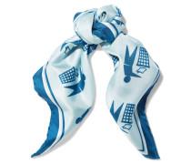 Keep Britain Printed Silk Scarf Himmelblau