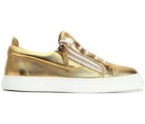 London zip-detailed metallic leather sneakers