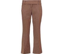 Cropped printed virgin wool and silk-blend bootcut pants