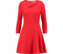 Cutout Stretch-ponte Mini Dress Rot