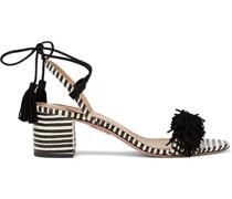 Wild Thing 50 Sandalen aus Elapheleder und Veloursleder mit Streifen und Fransen