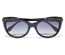 Crystal-embellished D-frame Acetate Sunglasses Schwarz