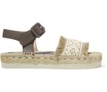 Aurora fringed paneled leather and woven canvas sandals
