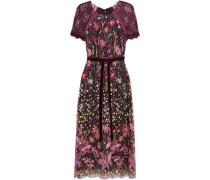 Lace-paneled Embellished Tulle Midi Dress
